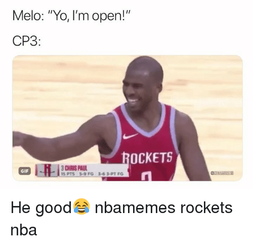"Basketball, Chris Paul, and Gif: Melo: ""Yo, I'm open!""  CP3  OCKETS  CHRIS PAUL  GIF  @AIMTİEM He good😂 nbamemes rockets nba"