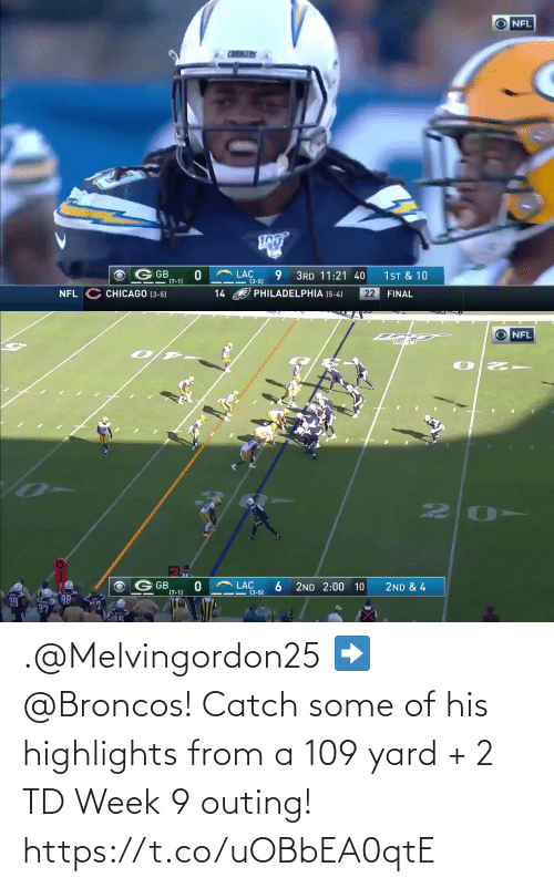 Of His: .@Melvingordon25 ➡️ @Broncos!  Catch some of his highlights from a 109 yard + 2 TD Week 9 outing! https://t.co/uOBbEA0qtE