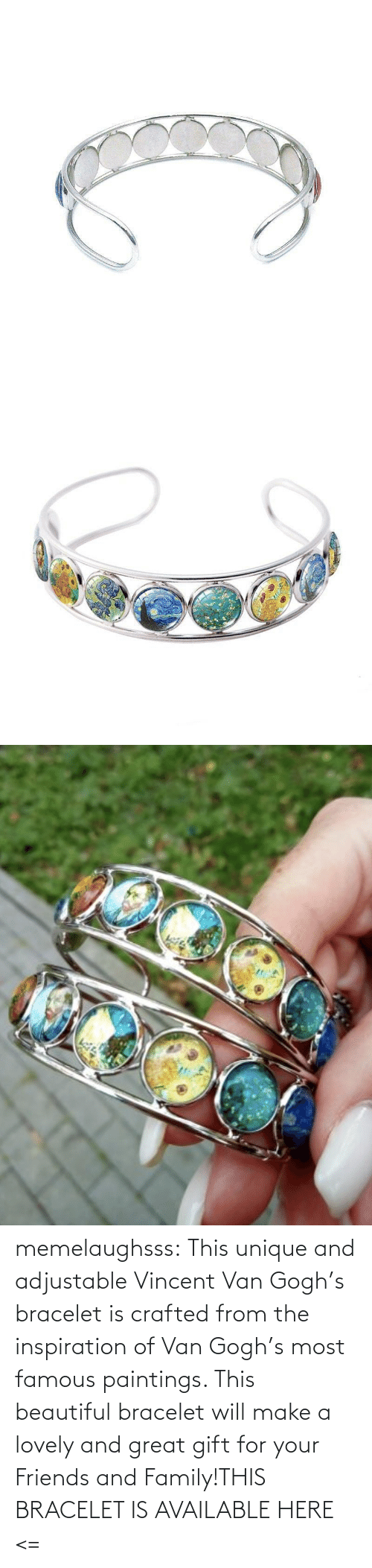 Vincent van Gogh: memelaughsss:  This unique and adjustable Vincent Van Gogh's bracelet is crafted from the inspiration of Van Gogh's most famous paintings. This beautiful bracelet will make a lovely and great gift for your Friends and Family!THIS BRACELET IS AVAILABLE HERE <=