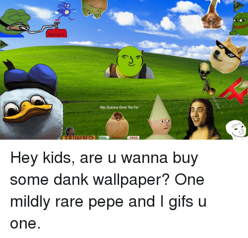 Rare Pepe: Memes  Has Science Gone Too Far  IGGERED REAL  FAKE <p>Hey kids, are u wanna buy some dank wallpaper? One mildly rare pepe and I gifs u one.</p>