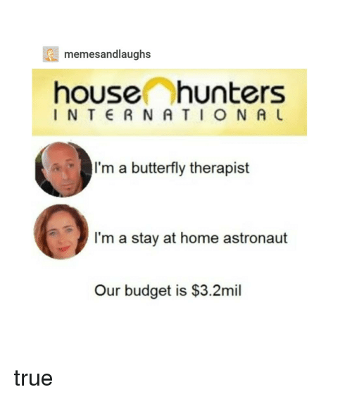 True, Budget, and Butterfly: memesandlaughs  house hunters  INT RNATION A  I'm a butterfly therapist  I'm a stay at home astronaut  Our budget is $3.2mil true