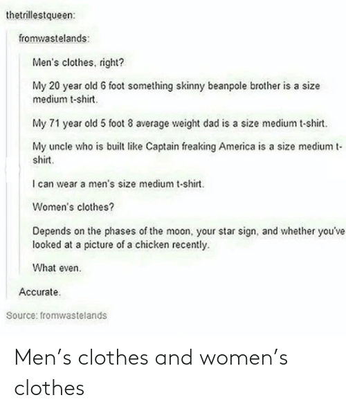 men: Men's clothes and women's clothes