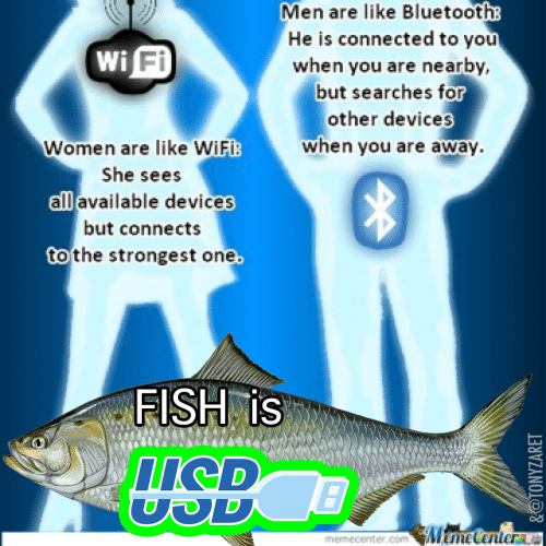 Fishes: Men are like Bluetooth  He is connected to you  when you are nearby,  but searches for  other devices  when you are away  Fi  Women are like WiFi:  She sees  all available devices  but connects  to the strongest one  FISH is  memecenter.comUHCHetenter