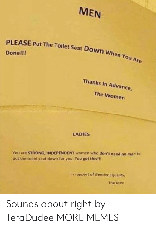 Dank, Memes, and Target: MEN  PLEASE Put The Toilet Seat Down When You Are  Done!!!  Thanks In Advance,  The Women  LADIES  You are STRONG, INDEPENDENT women who don't need no man to  put the toilet seat down for you. You got this!!  In support of Gender Equality,  The Men Sounds about right by TeraDudee MORE MEMES