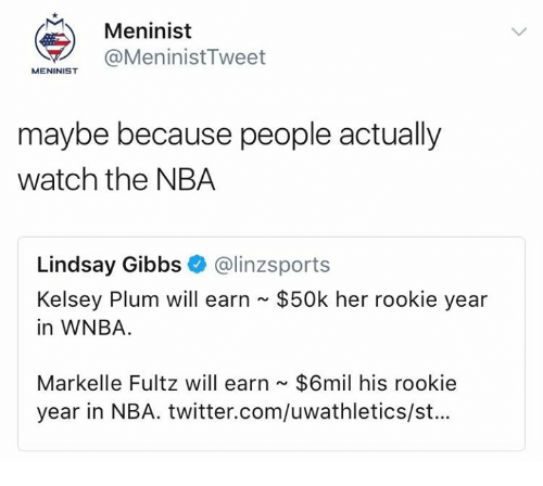 Memes, Nba, and Twitter: Meninist  @MeninistTweet  MENINIST  maybe because people actually  watch the NBA  Lindsay Gibbs@linzsport:s  $50k her rookie year  Kelsey Plum will earn  in WNBA.  Markelle Fultz will earn $6mil his rookie  year in NBA. twitter.com/uwathletics/st...