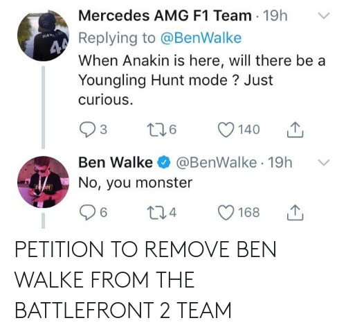 Mercedes AMG F1 Team 19h v Replying to When Anakin Is Here Will