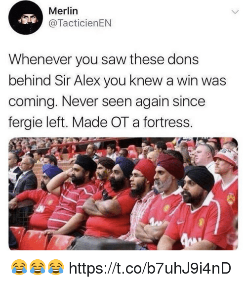 Saw, Soccer, and Fergie: Merlin  @TacticienEN  Whenever you saw these dons  behind Sir Alex you knew a win was  coming. Never seen again since  fergie left. Made OT a fortress. 😂😂😂 https://t.co/b7uhJ9i4nD