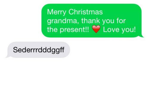 Christmas, Grandma, and Love: Merry Christmas  grandma, thank you for  he present!! Love you!  Sederrrdddggff