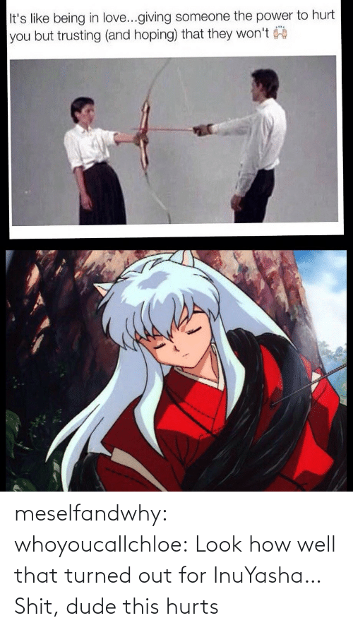 Well That: meselfandwhy: whoyoucallchloe:  Look how well that turned out for InuYasha…  Shit, dude this hurts