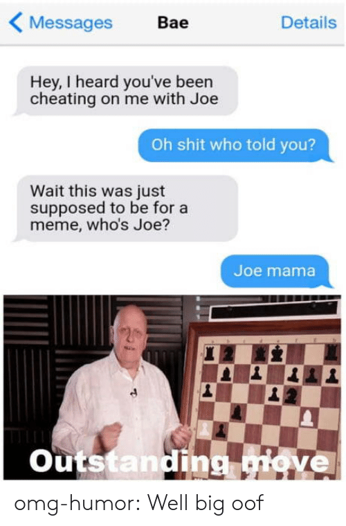 Bae, Cheating, and Meme: Messages  Bae  Details  Hey, I heard you've been  cheating on me with Joe  Oh shit who told you?  Wait this was just  supposed to be for a  meme, who's Joe?  Joe mama  Outstanding giove omg-humor:  Well big oof