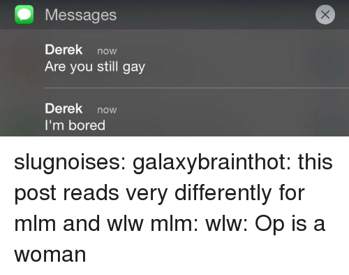 Bored, Target, and Tumblr: Messages  Derek now  Are you still gay  Derek now  I'm bored slugnoises:  galaxybrainthot: this post reads very differently for mlm and wlw mlm: wlw:  Op is a woman