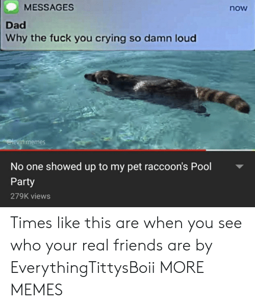 Real Friends: MESSAGES  now  Dad  Why the fuck you crying so damn loud  levin.memes  No one showed up to my pet raccoon's Pool  Party  279K views Times like this are when you see who your real friends are by EverythingTittysBoii MORE MEMES