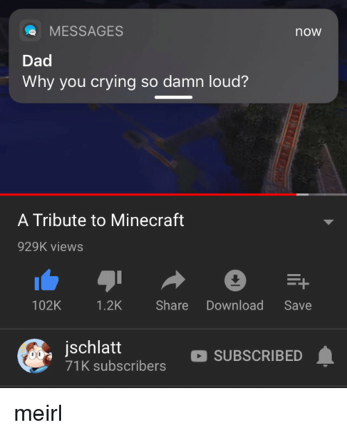 Crying, Dad, and Minecraft: MESSAGES  now  Dad  Why you crying so damn loud?  A Tribute to Minecraft  929K views  102K 1.2K Share Download Save  jschlatt  71K subscribers  SUBSCRIBED meirl