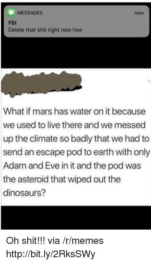 Adam and Eve, Fbi, and Hoe: MESSAGES  now  FBI  Delete that shit right now hoe  What if mars has water on it because  we used to live there and we messed  up the climate so badly that we had to  send an escape pod to earth with only  Adam and Eve in it and the pod was  the asteroid that wiped out the  dinosaurs? Oh shit!!! via /r/memes http://bit.ly/2RksSWy