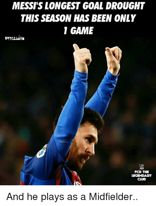 Club, Memes, and Game: MESSIIS LONGEST GOAL DROUGHT  THIS SEASON HAS BEEN ONLY  1 GAME  DYNAMITE  FCD THE  LEGENDARY  CLUB And he plays as a Midfielder..