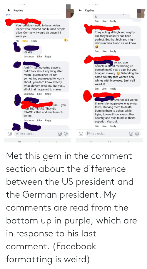 us president: Met this gem in the comment section about the difference between the US president and the German president. My comments are read from the bottom up in purple, which are in response to his last comment. (Facebook formatting is weird)