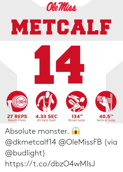 "Metcalf: METCALF  225  LBS  3  27 REPS  Bench Press  4.33 SEC  40-Yard Dash  134""  Broad Jump  40.5""  Vertical Jump Absolute monster. 😱@dkmetcalf14 @OleMissFB   (via @budlight) https://t.co/dbzO4wMIsJ"