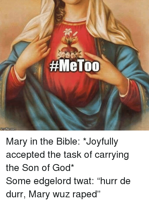 """durr: <p>Mary in the Bible: *Joyfully accepted the task of carrying the Son of God*<br/> Some edgelord twat: """"hurr de durr, Mary wuz raped""""</p>"""