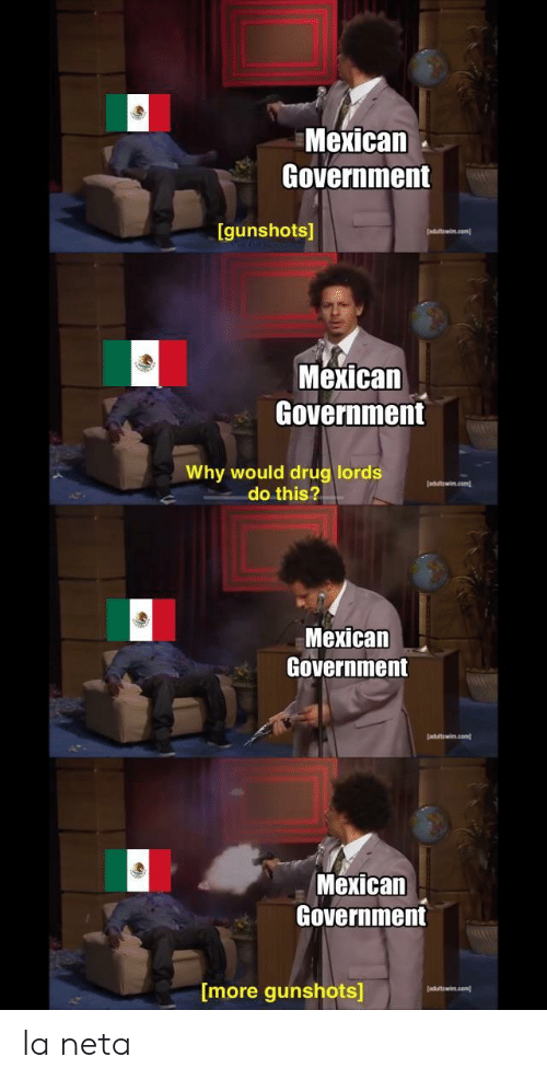 drug lords: Mexican  Government  [gunshots]  Mexican  Government  Why would drug lords  adltowin.com  do this?  Mexican  Government  adaltwin.com  Mexican  Government  [more gunshots]  adultswim.com) la neta