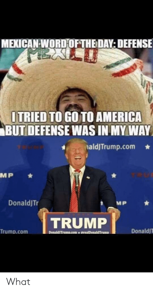 America, Donald Trump, and Trump: MEXICAN WORDOFTHE DAY: DEFENSE  ITRIED TO GO TO AMERICA  BUT DEFENSE WAS IN MY WAY  aldJTrump.com  MP  DonaldJTr  MP  TRUMP  Donald  Trump.com  DonaldITrump.comerealDonaldTrump What