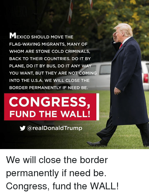stone cold: MExico SHOULD MOVE THE  FLAG-WAVING MIGRANTS, MANY OF  WHOM ARE STONE COLD CRIMINALS,  BACK TO THEIR COUNTRIES. DO IT BY  PLANE, DO IT BY BUS, DO IT ANY WA  YOU WANT, BUT THEY ARE NOT COMING  INTO THE U.S.A. wE WILL CLOSE THE  BORDER PERMANENTLY IF NEED BE.  CONGRESS,  FUND THE WALL!  步@realDonaldTrump We will close the border permanently if need be. Congress, fund the WALL!