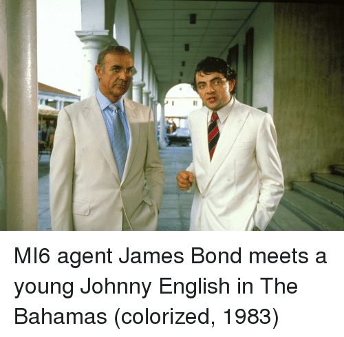 Bahamas: MI6 agent James Bond meets a young Johnny English in The Bahamas (colorized, 1983)