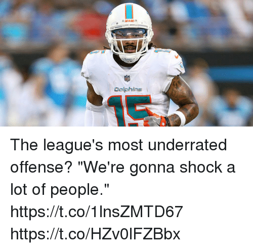 "Memes, Miami Dolphins, and Dolphins: MIAMI  Dolphins The league's most underrated offense?  ""We're gonna shock a lot of people."" https://t.co/1lnsZMTD67 https://t.co/HZv0lFZBbx"