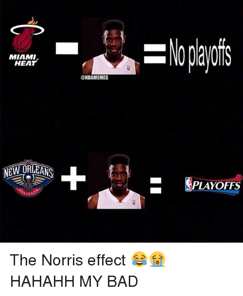 Cic: MIAMI  HEAT  NEW ORLEANS  CIC  ONBAMEMES  PLAYOFFS The Norris effect 😂😭 HAHAHH MY BAD