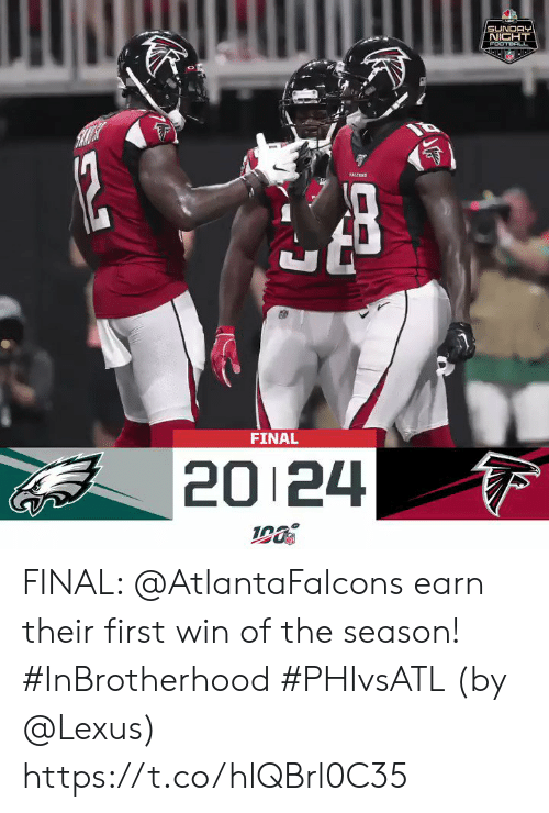 Football, Lexus, and Memes: MIC  SUNDAY  NICHT  FOOTBALL  12  TALESS  FINAL  20 24 FINAL: @AtlantaFalcons earn their first win of the season! #InBrotherhood #PHIvsATL  (by @Lexus) https://t.co/hlQBrl0C35