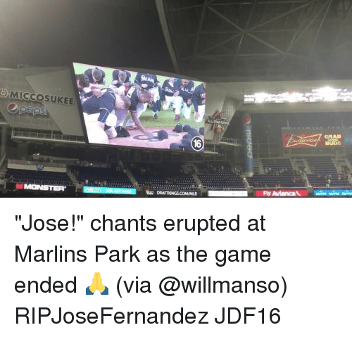 """Marlin: MICCOSUKEE  pepsi  42  MONSTER  DRAFTKINGSCOMMLB  ALLSTAR  Fly Awianca  GRAB  BUDS """"Jose!"""" chants erupted at Marlins Park as the game ended 🙏 (via @willmanso) RIPJoseFernandez JDF16"""