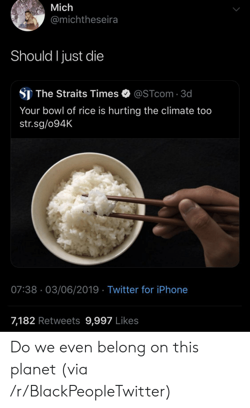 Just Die: Mich  @michtheseira  Should I just die  ST The Straits Times  @STcom 3d  Your bowl of rice is hurting the climate too  str.sg/094K  07:38 03/06/2019 Twitter for iPhone  7,182 Retweets 9,997 Likes Do we even belong on this planet (via /r/BlackPeopleTwitter)