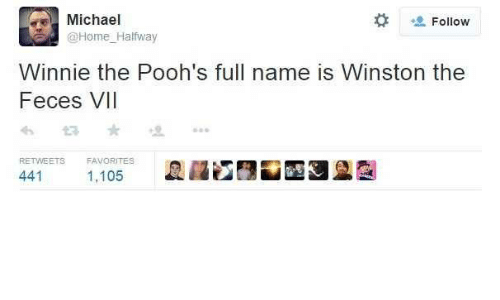 Winnie: Michael  Follow  @Home_Halfway  Winnie the Pooh's full name is Winston the  Feces VII  RETWEETS  FAVORITES  441  1,105