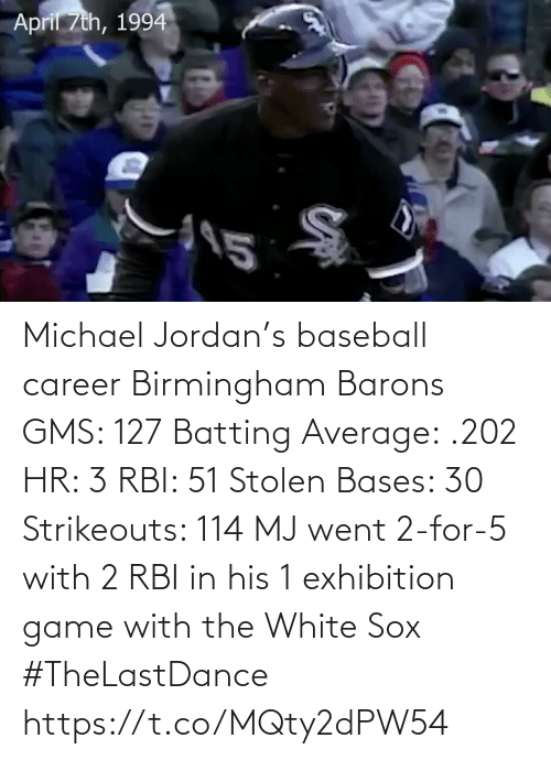Baseball: Michael Jordan's baseball career Birmingham Barons GMS: 127 Batting Average: .202 HR: 3 RBI: 51 Stolen Bases: 30 Strikeouts: 114  MJ went 2-for-5 with 2 RBI in his 1 exhibition game with the White Sox   #TheLastDance   https://t.co/MQty2dPW54