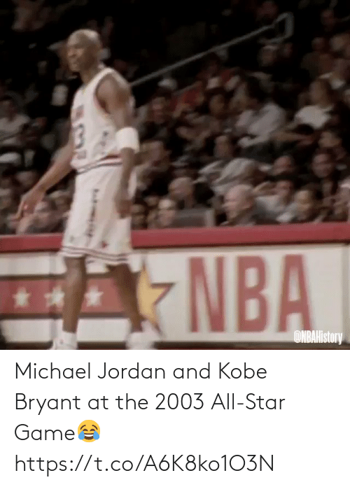 Jordan: Michael Jordan and Kobe Bryant at the 2003 All-Star Game😂 https://t.co/A6K8ko1O3N
