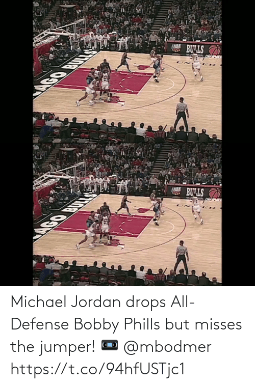 Drops: Michael Jordan drops All-Defense Bobby Phills but misses the jumper!  📼 @mbodmer   https://t.co/94hfUSTjc1