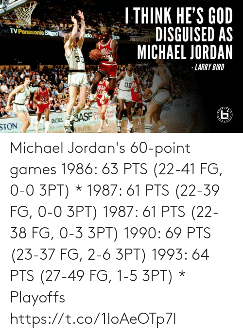 Michael: Michael Jordan's 60-point games   1986: 63 PTS (22-41 FG, 0-0 3PT) * 1987: 61 PTS (22-39 FG, 0-0 3PT) 1987: 61 PTS (22-38 FG, 0-3 3PT) 1990: 69 PTS (23-37 FG, 2-6 3PT) 1993: 64 PTS (27-49 FG, 1-5 3PT)  * Playoffs https://t.co/1IoAeOTp7l