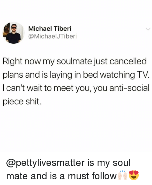 Funny, Shit, and Michael: Michael Tiberi  @MichaelJTiberi  Right now my soulmate just cancelled  plans and is laying in bed watching TV  I can't wait to meet you, you anti-social  piece shit. @pettylivesmatter is my soul mate and is a must follow🙌🏻😍