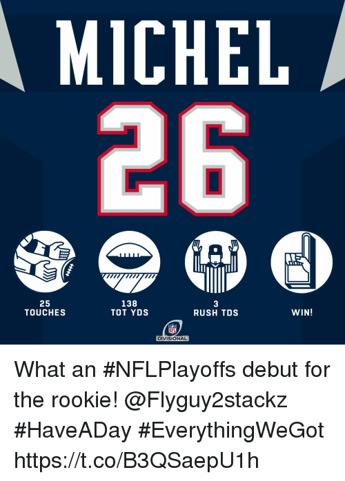 tot: MICHEL  25  TOUCHES  138  TOT YDS  3  RUSH TDS  WIN!  NFL  DIVISIONAL What an #NFLPlayoffs debut for the rookie! @Flyguy2stackz  #HaveADay #EverythingWeGot https://t.co/B3QSaepU1h