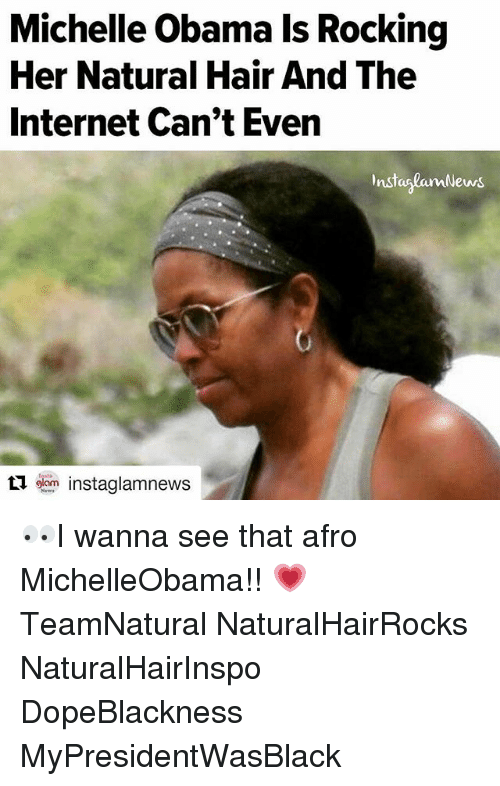 128i: Michelle Obamals Rocking  Her Natural Hair And The  Internet Can't Even  InstaslamNews  ti oom instaglamnews. 👀I wanna see that afro MichelleObama!! 💗 TeamNatural NaturalHairRocks NaturalHairInspo DopeBlackness MyPresidentWasBlack