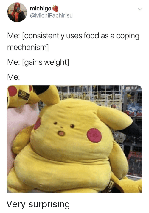 Food, Gains, and Weight: michigo  @MichiPachirisu  Me: [consistently uses food as a coping  mechanism]  Me: [gains weight]  Me Very surprising