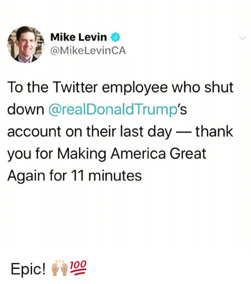 Making America Great Again: Mike Levin  @MikeLevinCA  To the Twitter employee who shut  down @realDonaldTrump's  account on their last day - thank  you for Making America Great  Again for 11 minutes Epic! 🙌🏽💯