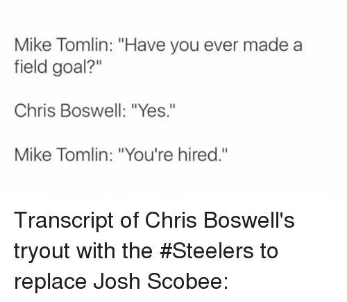 """Memes, Mike Tomlin, and Goal: Mike Tomlin: """"Have you ever made a  field goal?""""  Chris Boswell: """"Yes.""""  Mike Tomlin: """"You're hired."""" Transcript of Chris Boswell's tryout with the #Steelers to replace Josh Scobee:"""