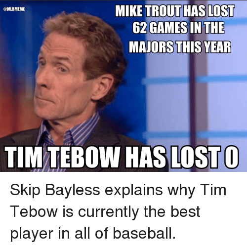 Mlb, Skip Bayless, and Lost: MIKE TROUT HAS LOST  OL MLBMEME  62 GAMES IN THE  MAJORS THIS YEAR  TIM OW HAS LOST O Skip Bayless explains why Tim Tebow is currently the best player in all of baseball.