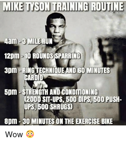 Boo, Memes, and Mike Tyson: MIKE TYSON TRAINING ROUTINE  4am-3 MILE RUN  12pm -10 ROUNDSSPARRING  3pm RING TECHNIQUE AND 60 MINUTES  CARDI  5pm STRENGTH AND CONDITIONING  C2000 SIT-UPS BOO DIPS 500 PUSH-  UPS, 500 SHRUGS  8pm 30 MINUTES ON THE EXERCISE BIKE Wow 😳