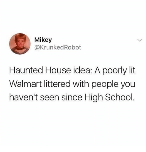 Lit, School, and Walmart: Mikey  @KrunkedRobot  Haunted House idea: A poorly lit  Walmart littered with people you  haven't seen since High School