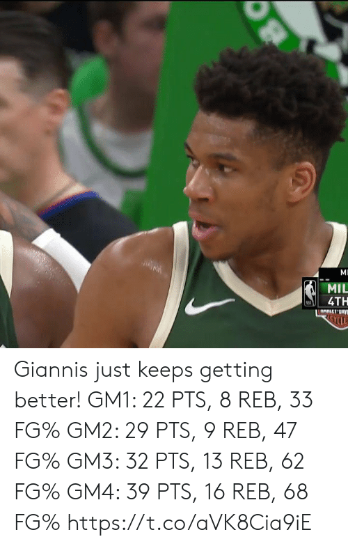 Memes, 🤖, and Mil: MIL  4TH Giannis just keeps getting better!   GM1: 22 PTS, 8 REB, 33 FG% GM2: 29 PTS, 9 REB, 47 FG% GM3: 32 PTS, 13 REB, 62 FG% GM4: 39 PTS, 16 REB, 68 FG%   https://t.co/aVK8Cia9iE