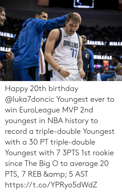 Birthday, Memes, and Nba: miles  DRLLAS  17 Happy 20th birthday @luka7doncic   Youngest ever to win EuroLeague MVP  2nd youngest in NBA history to record a triple-double   Youngest with a 30 PT triple-double  Youngest with 7 3PTS  1st rookie since The Big O to average 20 PTS, 7 REB & 5 AST   https://t.co/YPRyo5dWdZ