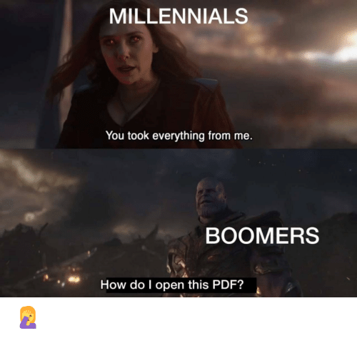 pdf: MILLENNIALS  You took everything from me.  BOOMERS  How do I open this PDF? 🤦♀️