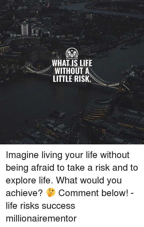 what is life: MILLIONAIRE MENTOR  WHAT IS LIFE  WITHOUT A  LITTLE RISK. Imagine living your life without being afraid to take a risk and to explore life. What would you achieve? 🤔 Comment below! - life risks success millionairementor