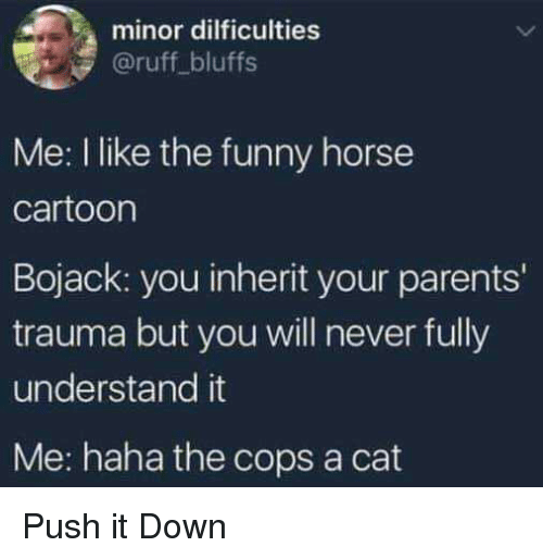 Funny, Parents, and Cartoon: minor dilficulties  @ruff bluffs  Me: I like the funny horse  cartoon  Bojack: you inherit your parents'  trauma but you will never fully  understand it  Me: haha the cops a cat Push it Down